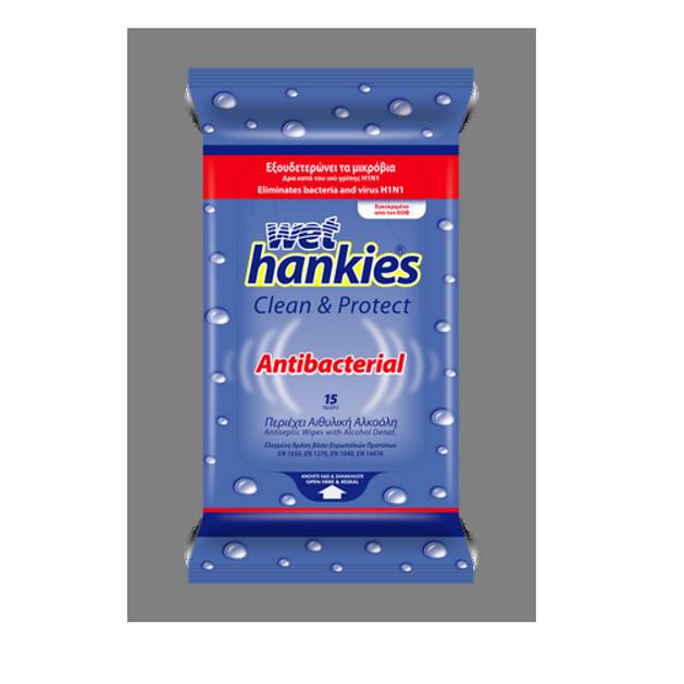 Wet Hankies Antibacterial Αλκοολούχα Αντιβακτηριδιακά Μαντήλια 15 τεμ.