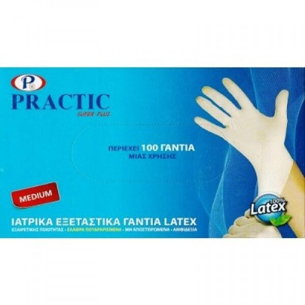 Practic Λάτεξ Γάντια Μίας Χρήσης 100 Τεμάχια