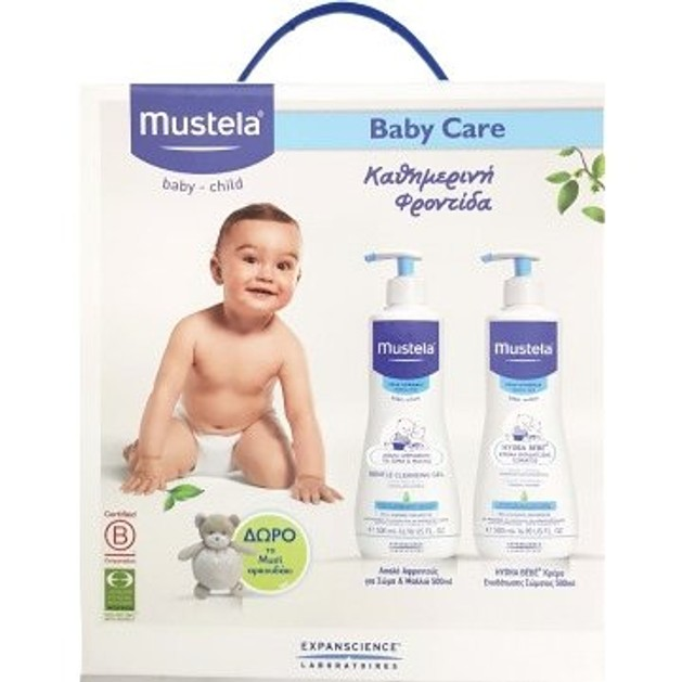 Mustela Baby Care Pack Gentle Cleansing Gel 500ml+ Hydra Bebe 500ml +Δώρο το Musti Αρκουδάκι