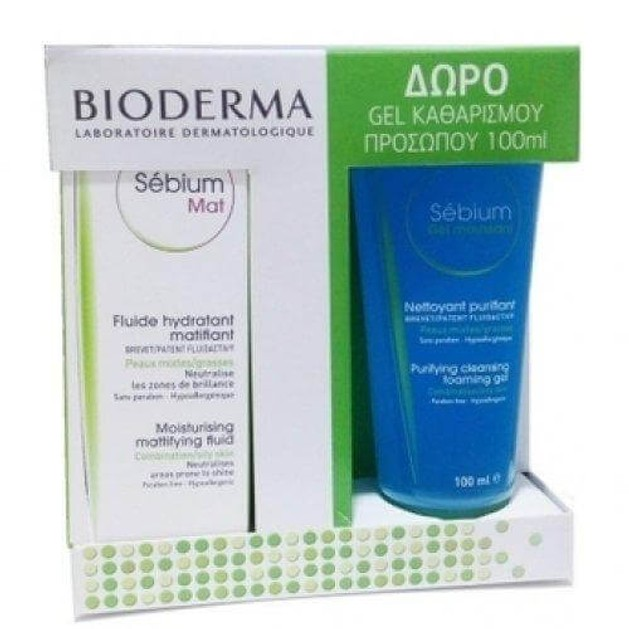 Bioderma Sebium Mat 40ml & Δώρο Gel Καθαρισμού Sebium Gel Moussant 100ml