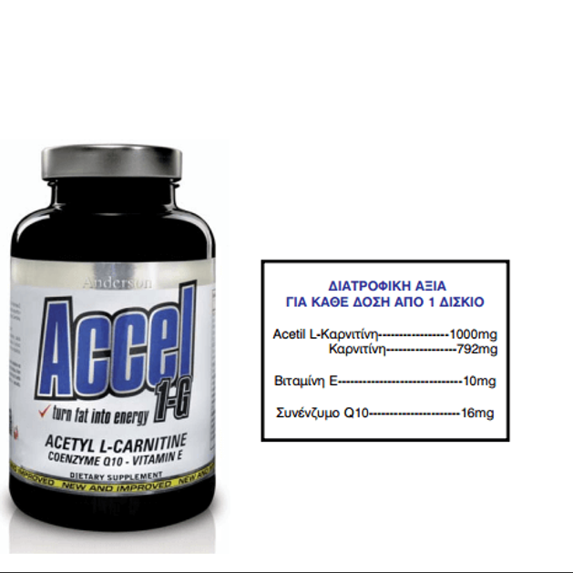 Anderson ACCEL 1-G  Acetyl Carnitine +Q10 100tabs