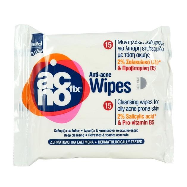 Acnofix Anti Acne Wipes Μαντηλάκια Καθαρισμού σε Βάθος, της Λιπαρής Επιδερμίδας με Τάση Ακμής 15pcs