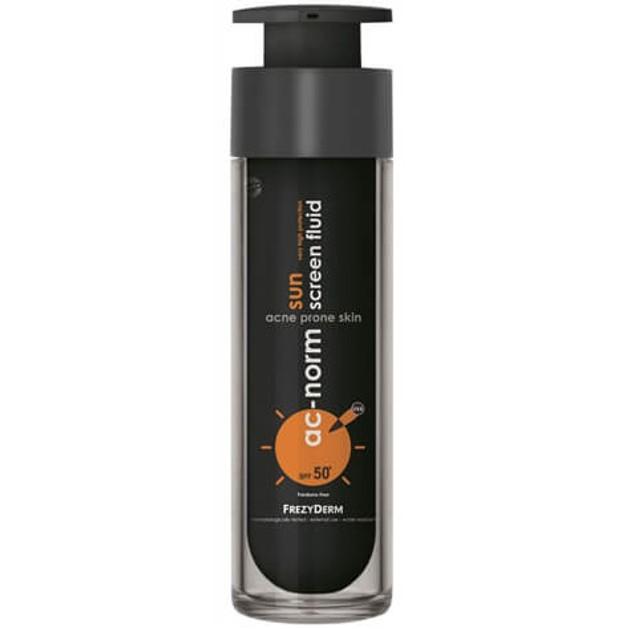 Frezyderm Ac-Norm Sun Screen Fluid Spf50+, Ενεργή Αντηλιακή Υγρή Κρέμα με Ειδική Μαύρη Χρώση για Ακνεϊκές Επιδερμίδες 50ml