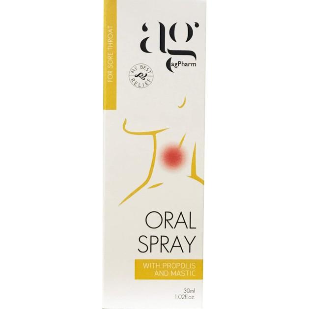 Agpharm Oral Spray With Propolis & Mastic Στοματικό Spray για τον Πονόλαιμο 30ml