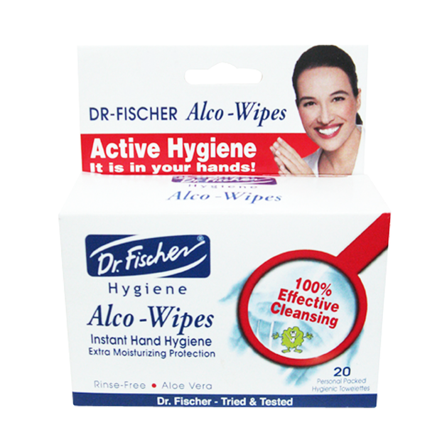 Dr. Fischer Alco Wipes Instant Hand Hygiene Μαντηλάκια Καθαρισμού Χεριών 20τμχ