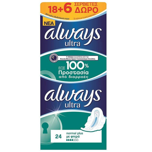 Always Ultra Normal Plus Έως 100% Προστασία από Διαρροές Jumbo Pack 18 + 6 τεμάχια Δώρο