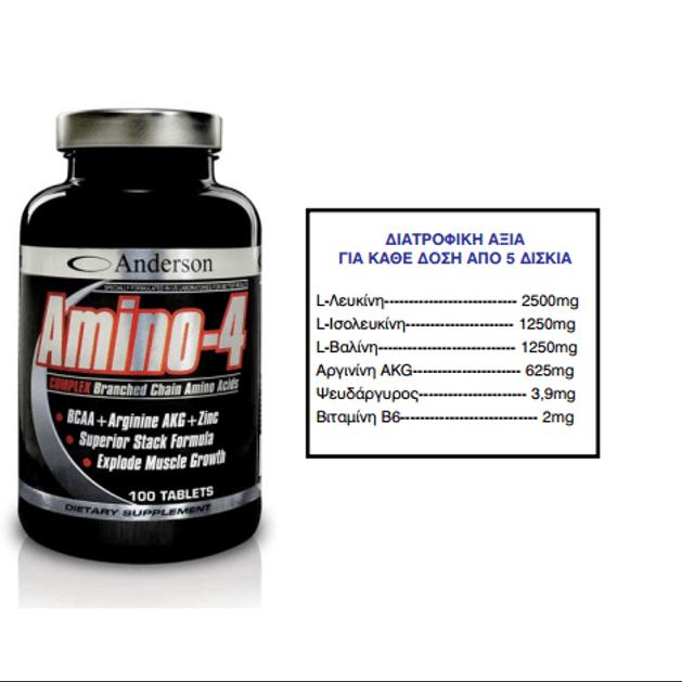 Anderson Amino-4 Complex Συμπλήρωμα Διακλαδισμένων Αμινοξέων (BCAA)
