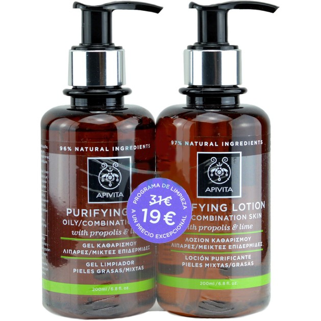 Apivita Purifying Gel Καθαριστικό με Πρόπολη & Lime 200ml & Purifying Lotion Λοσιόν με Πρόπολη & Lime 200ml Promo -30%