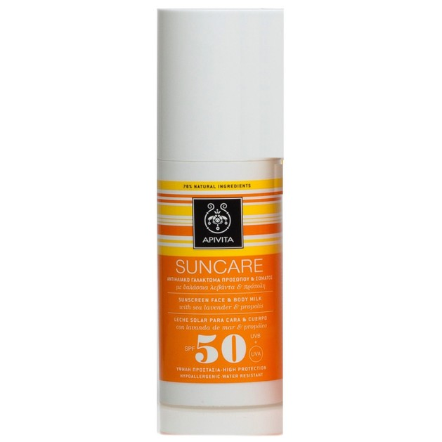 Apivita Suncare Sunscreen Face & Body Milk Spf50 With Sea Lavender & Propolis 100ml