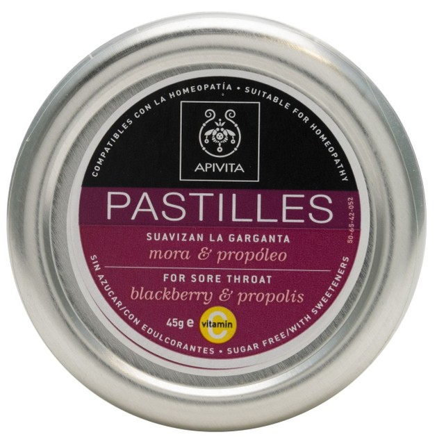 Pastilles For Sore Throat With Blackberry & Propolis 45g - Apivita