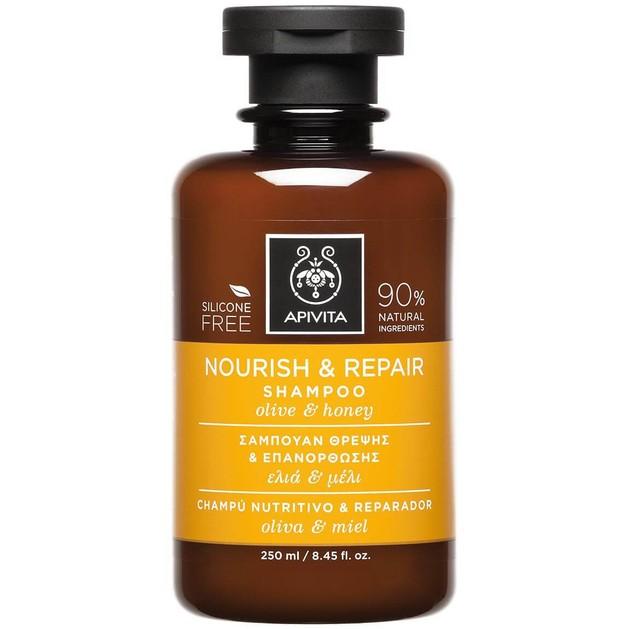 Nourish & Repair Shampoo With Olive & Honey250ml - Apivita