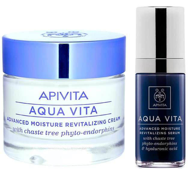 Apivita Πακέτο Προσφοράς Aqua Vita Κρέμα για Ξηρές-Πολύ Ξηρές Επιδερμίδες 50ml & Ορός Εντατικής Ενυδάτωσης & Αναζοωγόνησης 30ml
