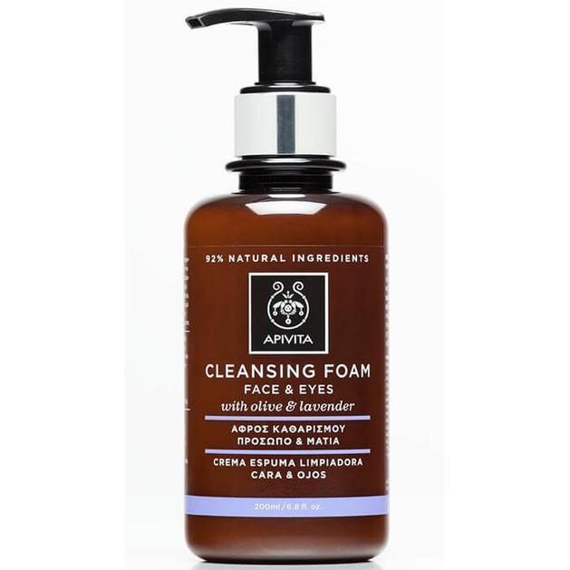 Apivita Cleansing Κρεμώδης Αφρός Καθαρισμού για Πρόσωπο & Μάτια με Ελιά & Λεβάντα 200ml & Δείγμα Aqua Vita 2ml