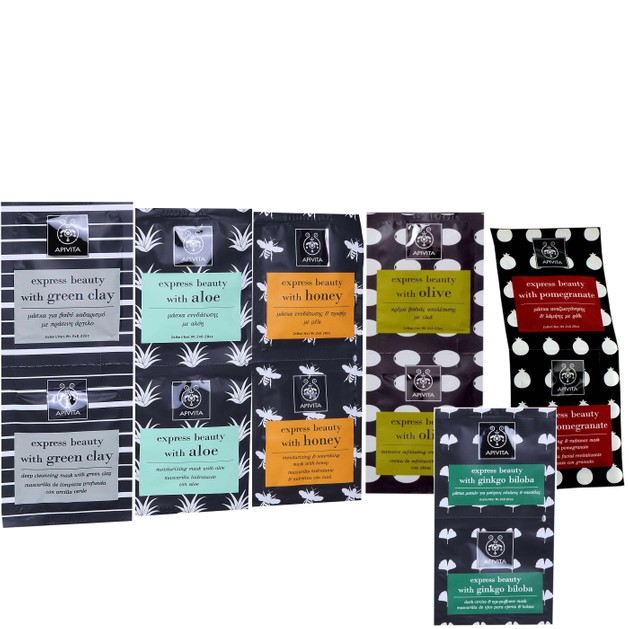 Apivita Face Masks Gift Set Express Beauty Olive , Green Clay, Aloe, Pomegranate, Honey & Δώρο Gingo Biloba & Νεσεσέρ
