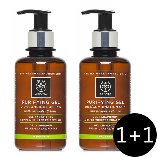 Apivita Πακέτο Προσφοράς Purifying Gel With Propolis & Lime Gel Καθαρισμού για Λιπαρές/Μικτές Επιδερμίδες 2x200ml