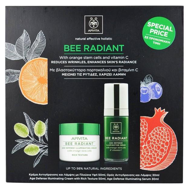 Apivita Πακέτο Προσφοράς Bee Radiant Κρέμα Αντιγήρανσης & Λάμψης Πλούσιας Υφής 50ml & Ορός Αντιγήρανσης & Λάμψης 30ml
