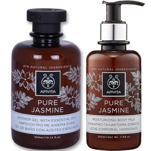 Apivita Πακέτο Προσφοράς Pure Jasmine Shower Gel Αφρόλουτρο 300ml & Moisturing Body Milk Ενυδατικό Γαλάκτωμα Σώματος 200ml