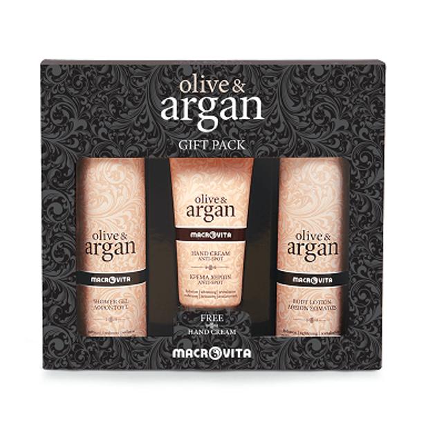 Macrovita Gift Pack Olive & Argan Shower Gel 200ml & Hand Cream Anti-Spot 100ml & Body Lotion 200ml