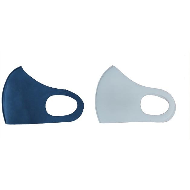 TiLi Fashion Face Mask Μάσκα Ενηλίκων Πολλαπλών Χρήσεων Άσπρη - Μπλέ 2 Τεμάχια
