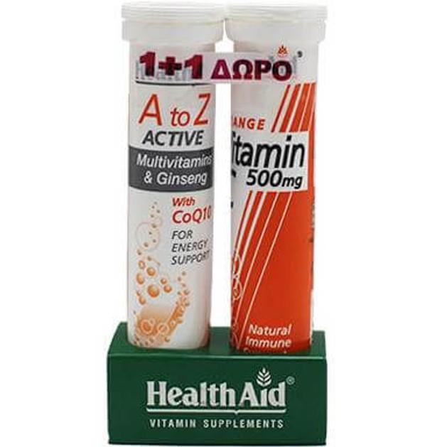 Health Aid Πακέτo Προσφοράς Α to Ζ Active 20eff.tabs + Δώρο Vitamin C Orange 500mg 20eff.tabs