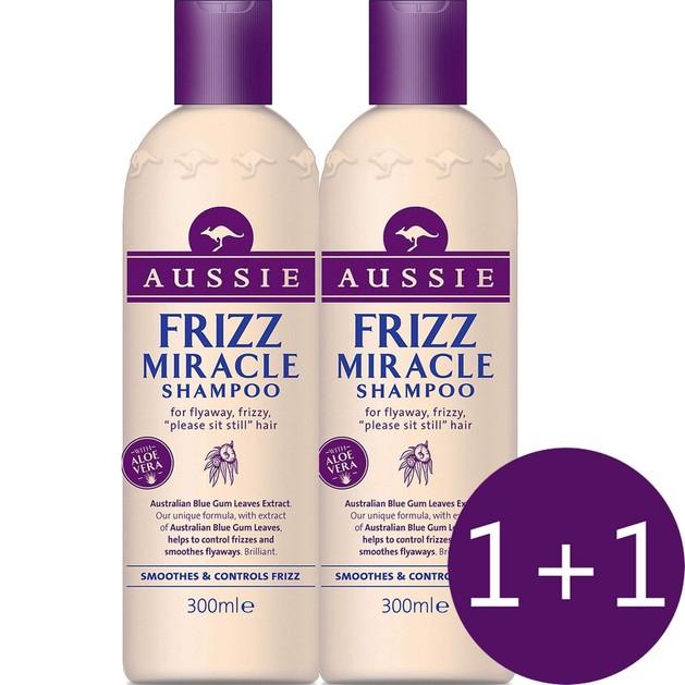 Aussie Πακέτο Προσφοράς Frizz Miracle Shampoo Σαμπουάν που Λειαίνει τα Μαλλιά & τα Διατηρεί Όλη Μέρα 2 x 300ml 1+1 Δώρο