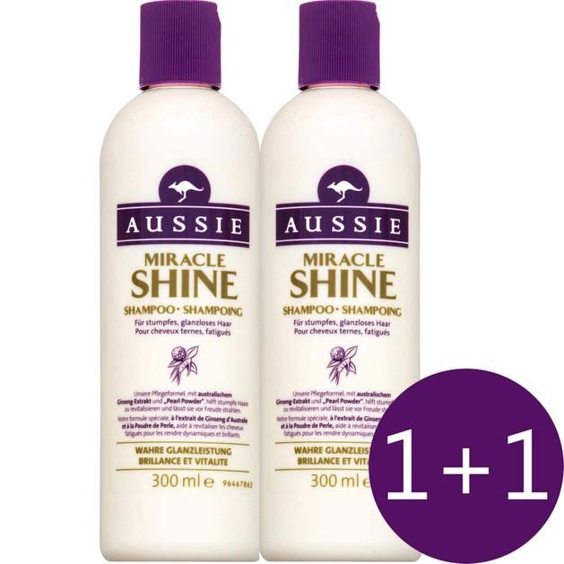 Aussie Πακέτο Προσφοράς Miracle Shine Shampoo Σαμπουάν για Θαμπά & Ξηρά Μαλλιά 2 x 300ml 1+1 Δώρο
