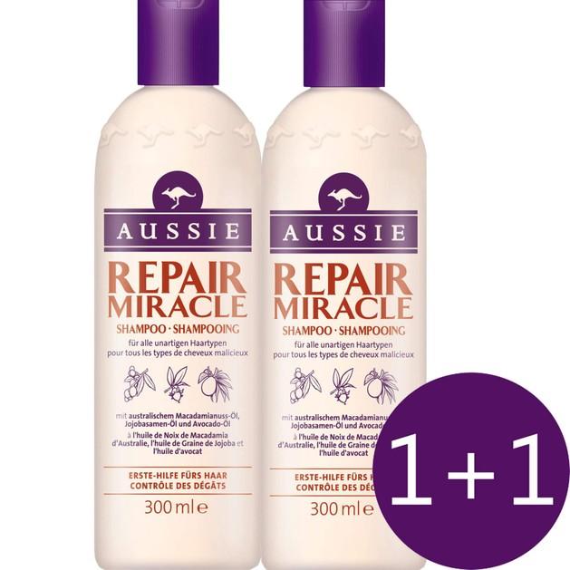 Aussie Πακέτο Προσφοράς Repair Miracle Shampoo Damage Control Σαμπουάν για Ατίθασα Μαλλιά 2 x 300ml 1+1 Δώρο
