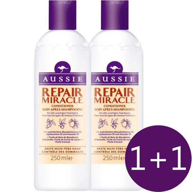 Aussie Πακέτο Προσφοράς Repair Miracle Conditioner Damage Control Μαλακτική Κρέμα για Ατίθασα Μαλλιά 2x250ml 1+1 Δώρο
