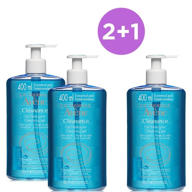 Avene Πακέτο Προσφοράς Cleanance Gel Nettoyant Gel Καθαρισμού Προσώπου-Σώματος, Λιπαρές Επιδερμίδες με Τάση Ακμής 400ml 2+1 Δώρο