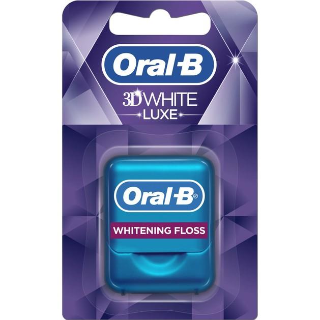 Δώρο Oral-B 3D White Luxe Οδοντικό Νήμα Βοηθά στην Πρόληψη Σχηματισμού Λεκέδων Ανάμεσα στα Δόντια 35m