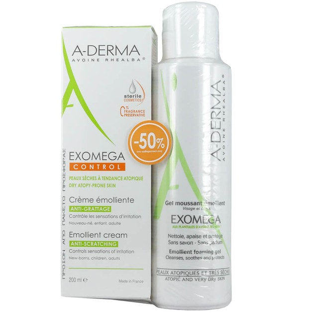 Exomega Control Emollient Cream 200ml & Δώρο Exomega Gel Moussant 500ml -50% στο Καθαριστικό - A-derma