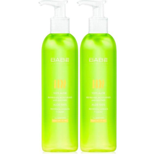 Babe Body 100% Aloe Μη Λιπαρό Gel Αλόης με Καταπραϋντικά & Ενυδατικά Συστατικά για την Προστασία της Επιδερμίδας 2x300ml