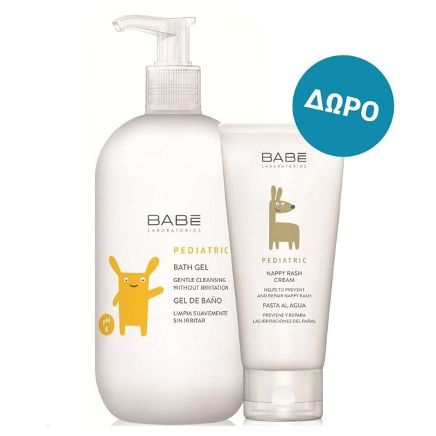 Babe Pediatric Πακέτο Προσφοράς Bath Gel Ήπιο Αφρόλουτρο για Βρέφη &Παιδιά 500ml & Δώρο Nappy Rash Cream Κρέμα για Σύγκαμα 100ml