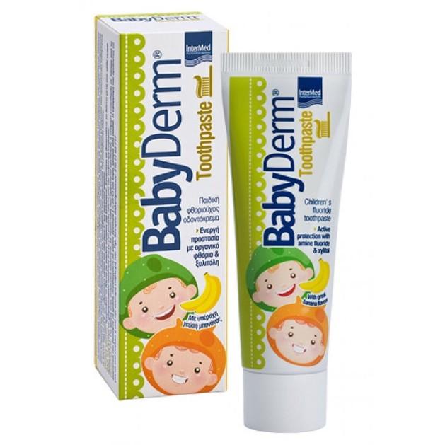 BabyDerm Toothpaste Παιδική Φθοριούχος Οδοντόκρεμα με Γεύση Μπανάνα  50ml