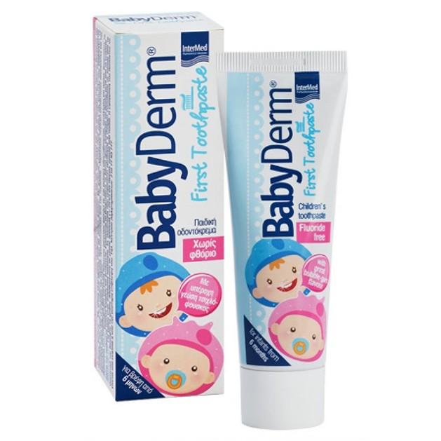 Babyderm First Toothpaste Για τον Καθαρισμό και την Προστασία των Πρώτων Βρεφικών Δοντιών 50ml