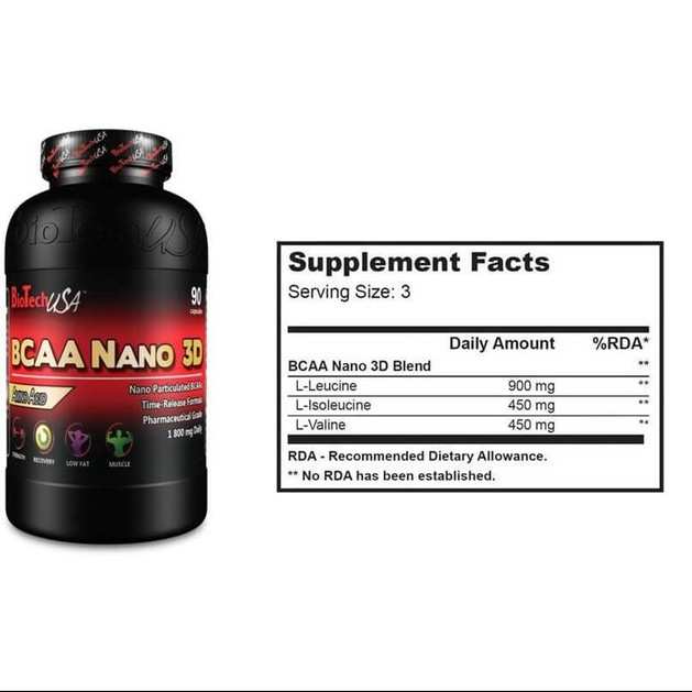 Biotech Usa Bcaa Nano 3D Bcaa Αμινοξέα Φαρμακευτικής Μορφής 90caps