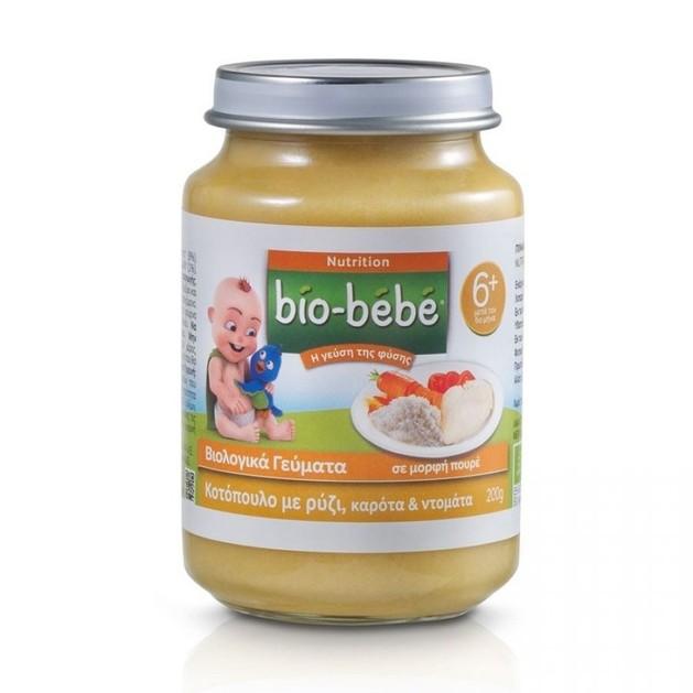 Bio Bebe Nutrition Βιολογική Βρεφική Τροφή Κοτόπουλο με Ρύζι, Καρότα & Ντομάτα, από τον 6ο Μήνα 200 gr