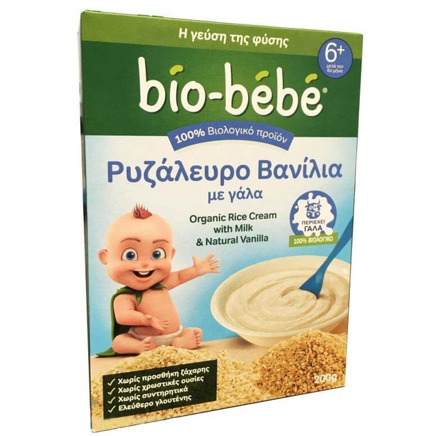 Bio-Bebe Ρυζάλευρο Βανίλια με Γάλα 6m+ Βιολογικής Καλλιέργειας 200gr