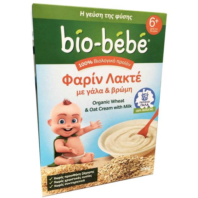 Bio-Bebe Φαρίν Λακτέ με Γάλα και Βρώμη 6m+ Βιολογικής Καλλιέργειας 200gr