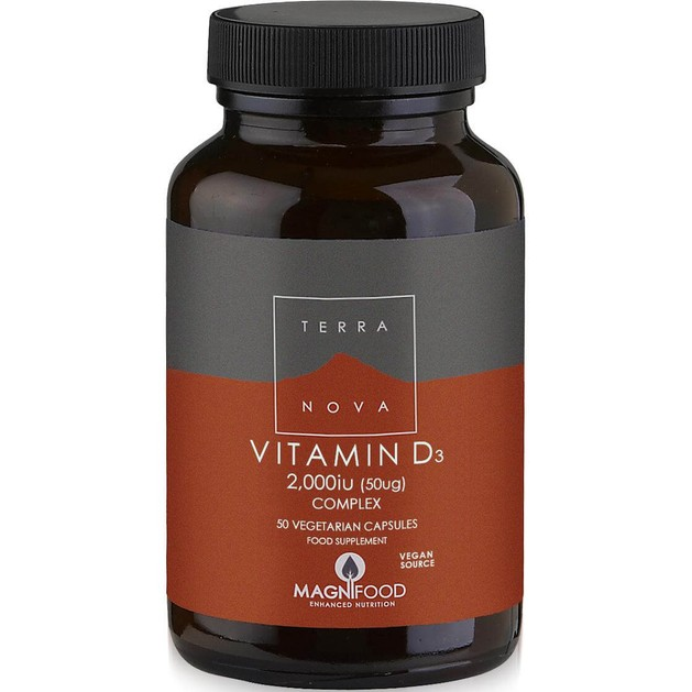 Terranova Vitamin D3 2000iu Complex Φυτικής Προέλευσης Βιταμίνη D3 50veg.caps