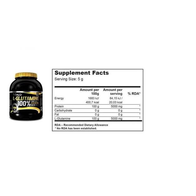 Biotech Usa L-Glutamine Γλουταμίνη Για Ανάπτυξη Των Επιπέδων Δύναμης 500gr