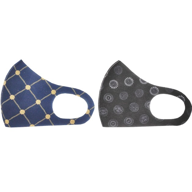 TiLi Fashion Face Mask Μάσκα Ενηλίκων Πολλαπλών Χρήσεων Μαύρο - Σκούρο Μπλέ Σχέδιο 2 Τεμάχια