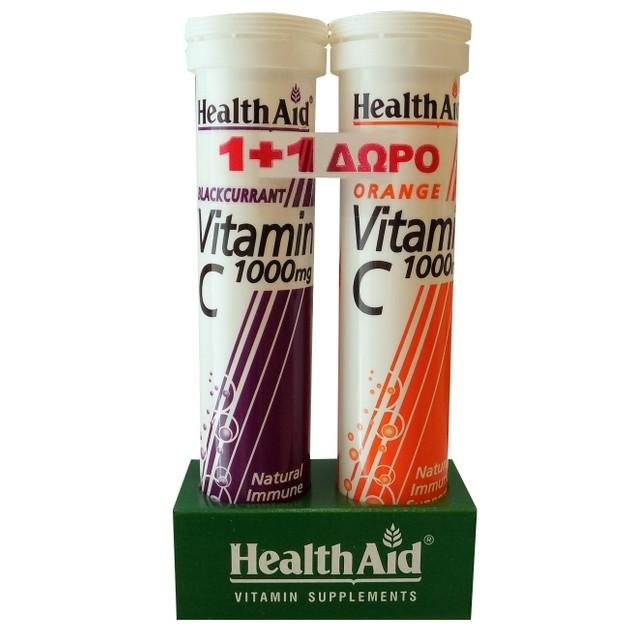 Πακέτο Προσφοράς Vit C 1000mg Blackcurrant 20eff.tabs + Δώρο Vit C Orange 1000mg 20eff - Health Aid