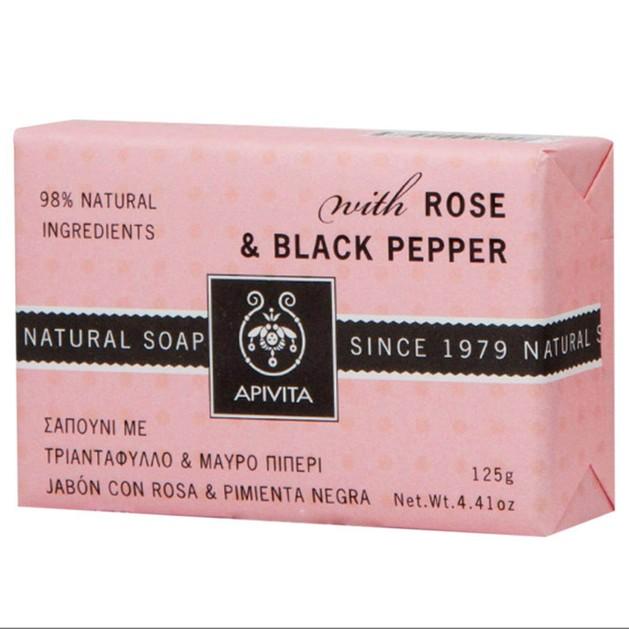 Natural Soap With Rose & Black Pepper 125g - Apivita