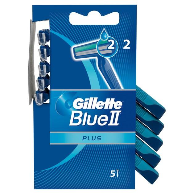 Gillette Blue II Plus με 2 Λεπίδες και Λιπαντική Ταινία για Άνετο Ξύρισμα  5τμχ