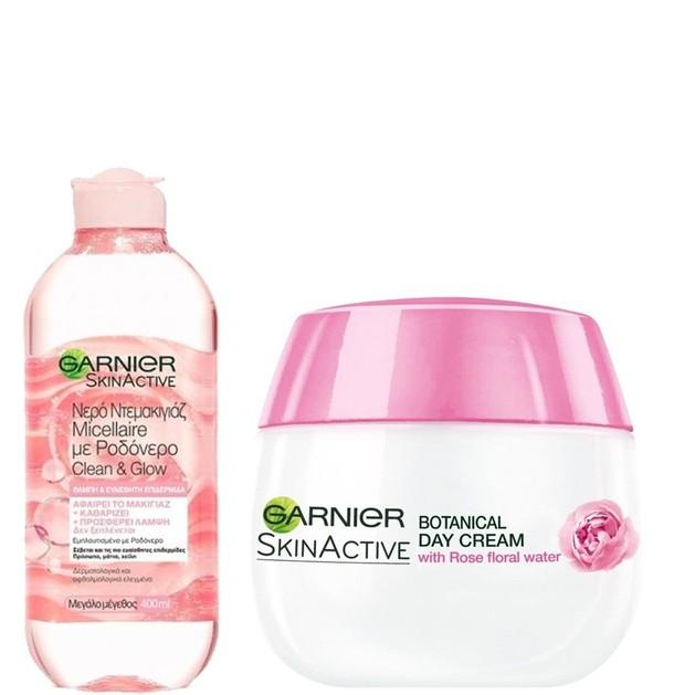 Garnier Πακέτο Προσφοράς Skin Active Micellaire Rose Water Clean & Glow 400ml & Botanicals Rose Nourishing 48h Day Cream 50ml