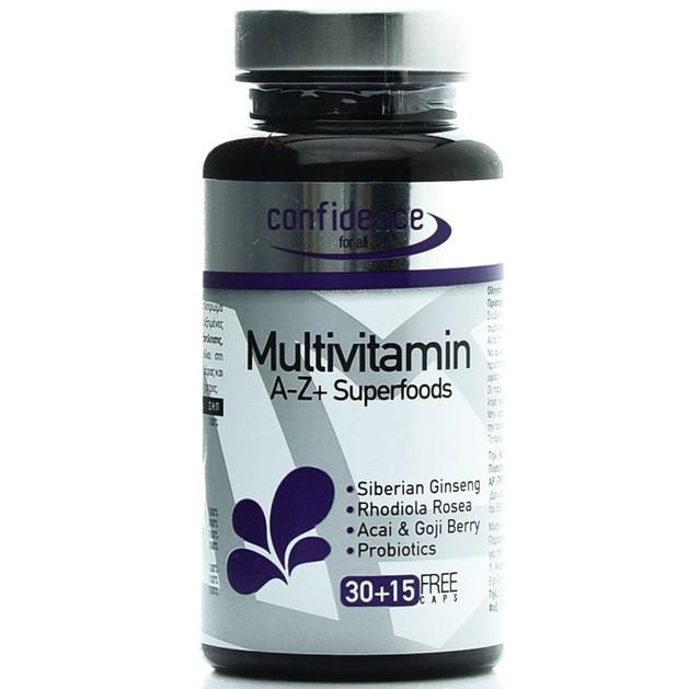 Confidence Multivitamin A-Z + SuperfoodsΕξαιρετική Φόρμουλα Πολλαπλής Διατροφικής Αξίας 30Caps& Επιπλέον Ποσότητα 15Caps