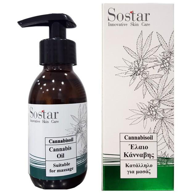 Sostar Cannabis Oil Λάδι για Μασάζ με Έλαιο Βιολογικής Κάνναβης, Άρνικα, Δενδρολίβανο και Λεβάντα 125ml