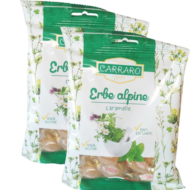Carraro Πακέτο Προσφοράς Caramelle Erbe Alpine Καραμέλες για το Λαιμό με Αλπικά Βότανα 2x100gr