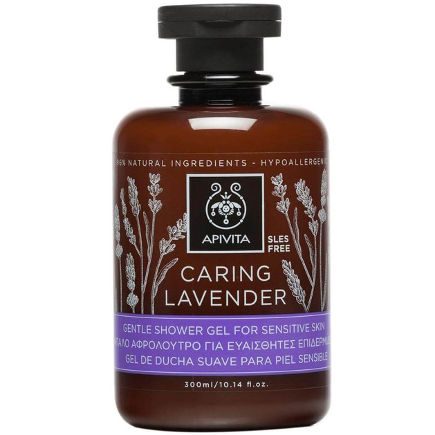 Caring Lavender Gentle Shower Gel For Sensitive Skin 300ml - Apivita